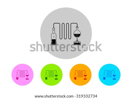 Colorful scientific icons on white background