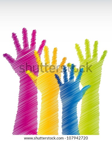 colorful scrawled hands over white background. vector illustration - stock vector