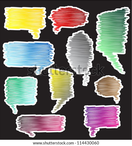 Colorful scribble speaking bubbles Vector - stock vector