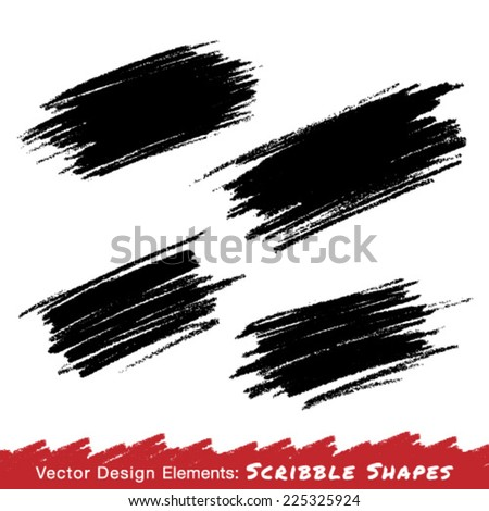 Colorful Scribble Stains Hand drawn in Pencil, vector logo design elements  - stock vector