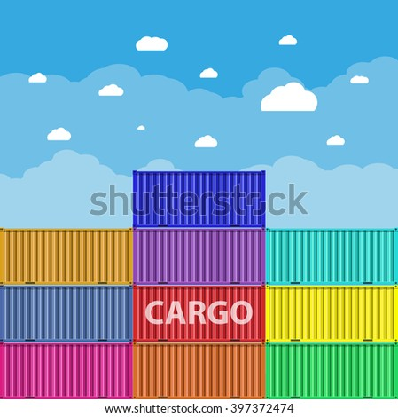 colorful sea cargo containers at blue sky background with clouds. logistics, transportation concept. vector illustration in flat design - stock vector