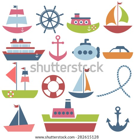 Colorful sea transport set - stock vector