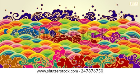 Colorful sea wave pattern  - stock vector