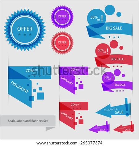 Colorful seals,labels and banners set, eps10 Vector. - stock vector