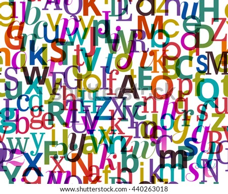 Colorful seamless background pattern with character from the alphabet, eps10 vector - stock vector