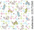 colorful seamless child pattern with birds - stock vector