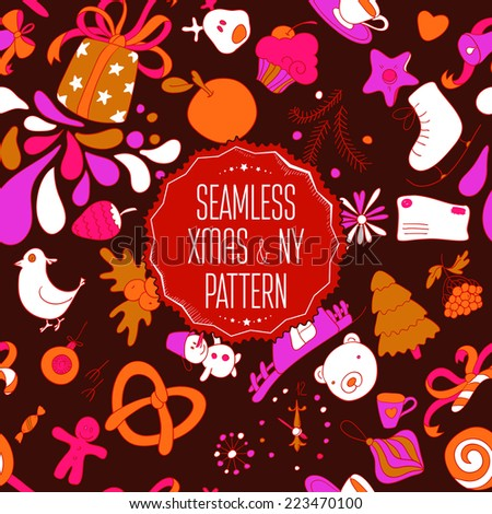 Colorful seamless christmas pattern. New year colors background. Vector gifts illustration.