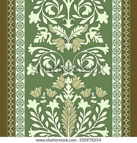 Colorful seamless damask pattern, classic wallpapper, background - stock vector