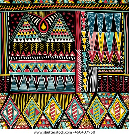 Colorful seamless ethnic pattern. Decorative ornament for fabric, textile, wrapping paper, card, invitation, wallpaper, web design