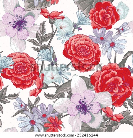 Colorful seamless floral botanical pattern with wildflowers - stock vector