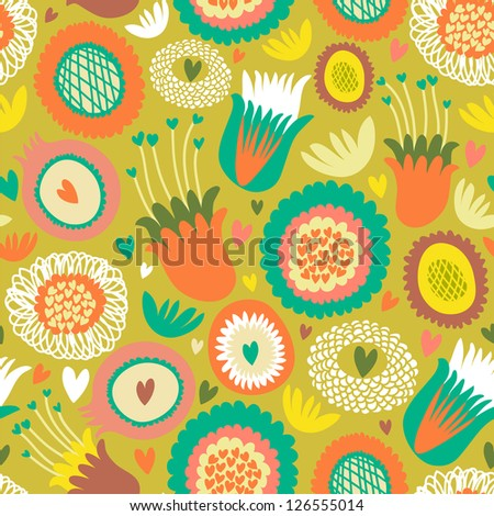Colorful seamless floral pattern - stock vector