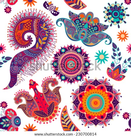Colorful seamless floral pattern. Decorative flowers on a white background - stock vector