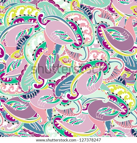 Colorful seamless Indian paisley pattern