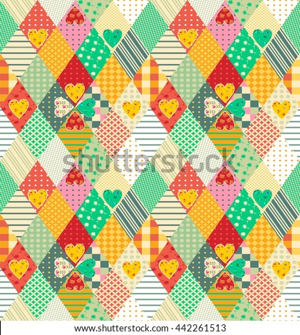 Colorful seamless patchwork pattern with rhombuses and hearts. Abstract multicolor quilt design. Vector illustration.