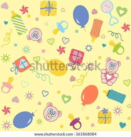 Colorful seamless pattern, baby accessories