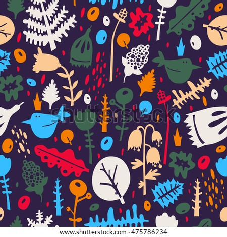 Colorful seamless pattern - birds in flowers - vector illustration.