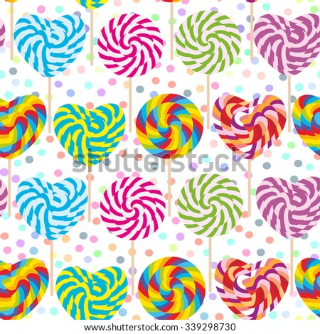 colorful seamless pattern, candy lollipops, spiral candy cane. Candy on stick with twisted design on white abstract geometric retro polka dot background. Vector - stock vector