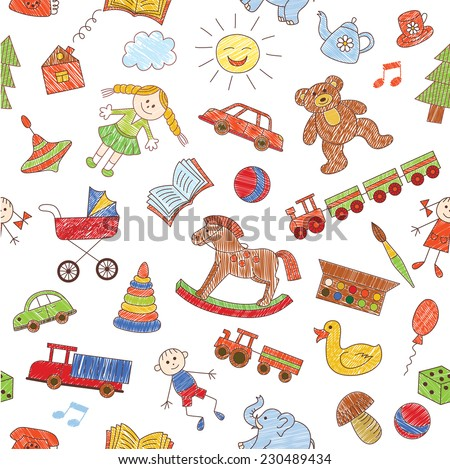 Colorful seamless pattern, childish doodles. Vector background. - stock vector