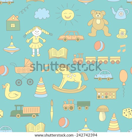Colorful seamless pattern, childish toys. Use for wallpaper, pattern fills, textures, fabric.  - stock vector