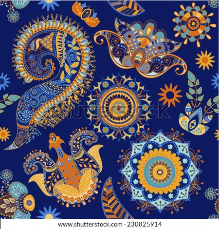 Colorful seamless pattern. Decorative flowers on a blue background - stock vector