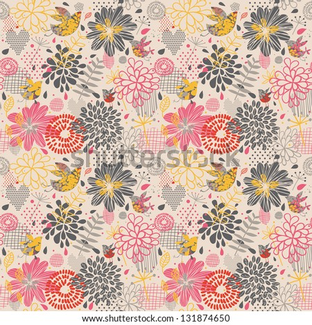Colorful seamless pattern in vector. Bright floral background. Vintage wallpaper with birds and flower. Seamless pattern can be used for wallpaper, pattern fills, web page background, surface textures - stock vector