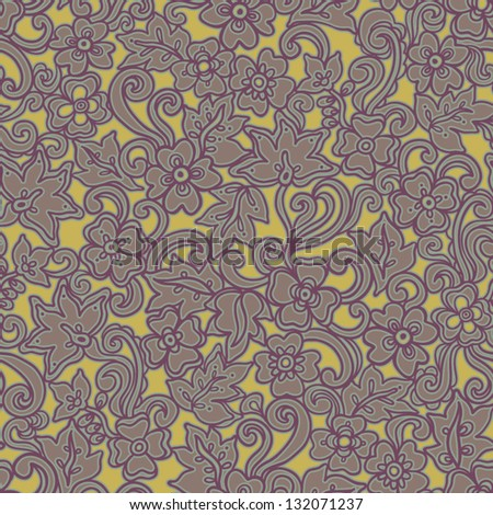 Colorful seamless pattern with abstract flowers, leaves and curls