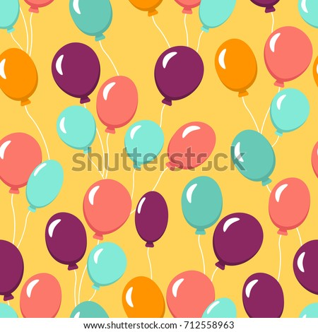 Colorful Seamless Pattern With Balloons For Wallpaper Textile Fabric Happy Birthday Celebration