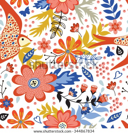 Colorful seamless pattern with birds and blooming flowers. Vector illustration