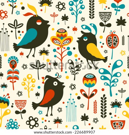 Colorful seamless pattern with birds and flowers.