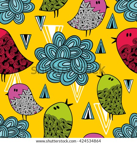 Colorful seamless pattern with cute birds and clouds. Vector repeated background. - stock vector