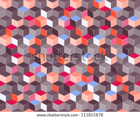 Colorful Seamless Pattern with 3d Cubes. Vector Pattern Illustration - stock vector