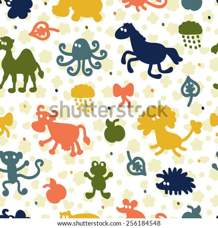 Colorful seamless pattern with different animals - stock vector