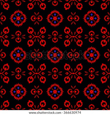 Colorful  seamless pattern with ethnic red flowers. Abstract wallpaper with oriental ornament elements. Floral background in vector. Folk art. Elegant design for any surface.  - stock vector