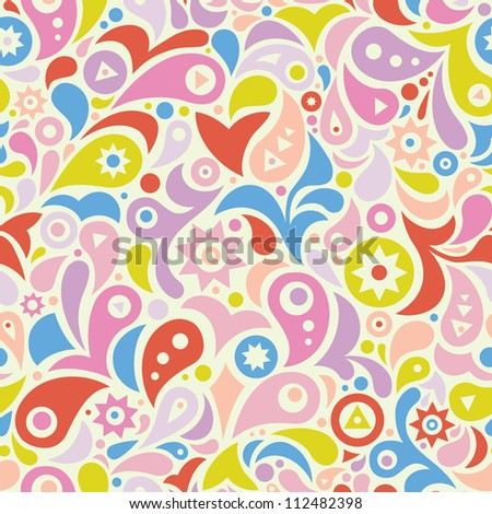 Colorful seamless pattern with geometric shapes: stars, leafs, drops and circles. Cheerful colors. Vector.