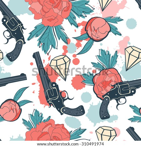 Colorful seamless pattern with guns, diamonds and flowers. vector illustration - stock vector