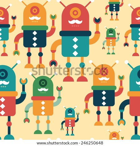 Colorful seamless pattern with happy hipster robots. - stock vector