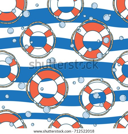 Colorful seamless pattern with lifebuoys, hand drawn illustration. Marine overlapping background. Decorative striped wallpaper, good for printing. Design backdrop vector, cruise time