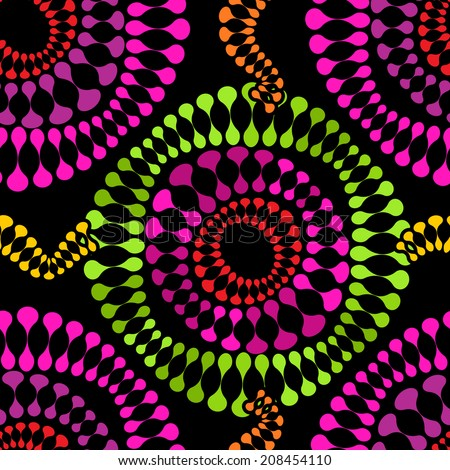 Colorful Seamless Pattern with Psychedelic Rounded Shapes on Black - stock vector
