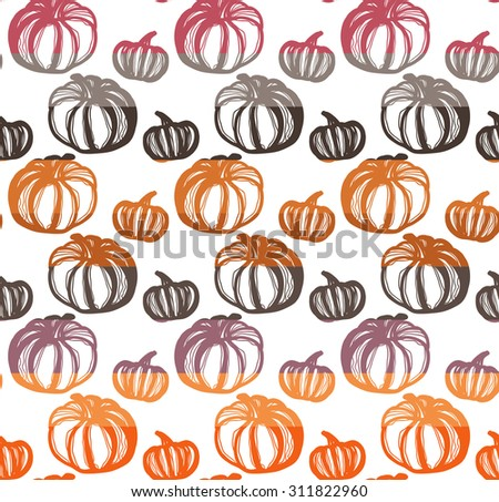 Colorful seamless pattern with pumpkins. - stock vector
