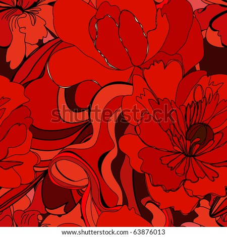 Colorful seamless pattern with red flowers - stock vector
