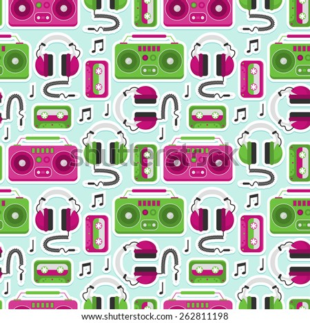 colorful seamless pattern with retro music equipment - stock vector