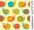 Colorful seamless pattern with snails - stock vector