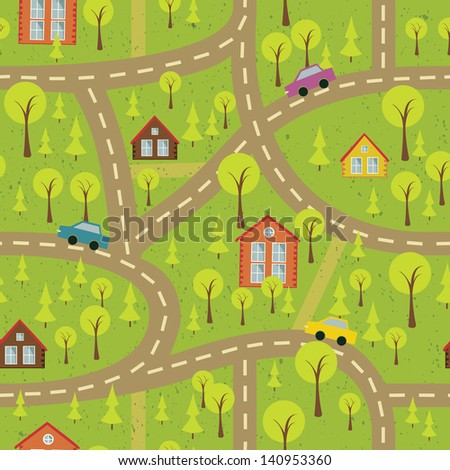 colorful seamless pattern with streets and roads