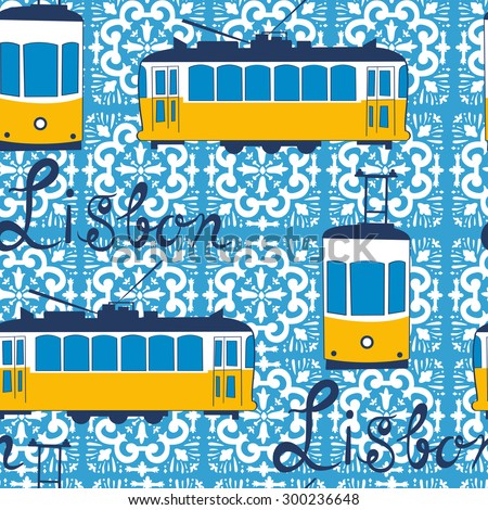 Colorful seamless pattern with tipical Lisbon tram. Vector illustration - stock vector