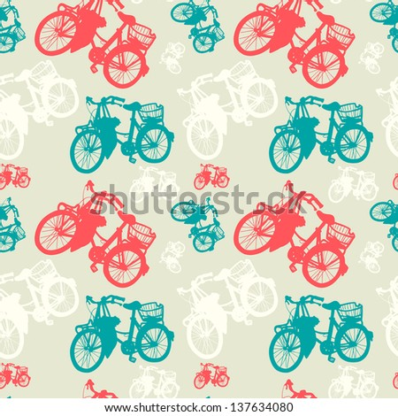 Colorful seamless pattern with vintage bicycle silhouettes. Vector background. - stock vector