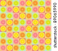 Colorful seamless retro pattern with citrus theme - stock vector