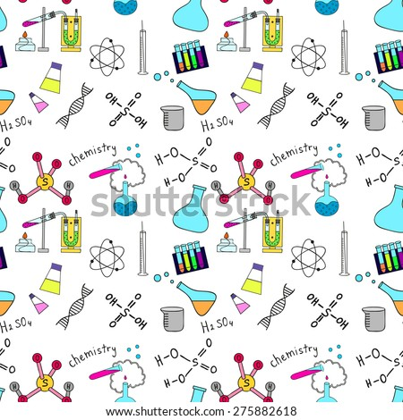Colorful seamless sketch of science doddle elements - stock vector