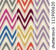 Colorful seamless thready chevron zig zag pattern background in three 14 x 14 inch color combinations - stock vector
