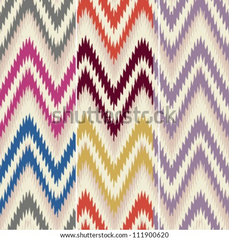 Colorful seamless thready chevron zig zag pattern background in three 14 x 14 inch color combinations