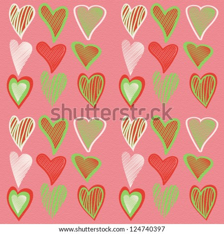 Colorful seamless valentine design with hand drawn hearts for cards, wrappers, backgrounds etc.